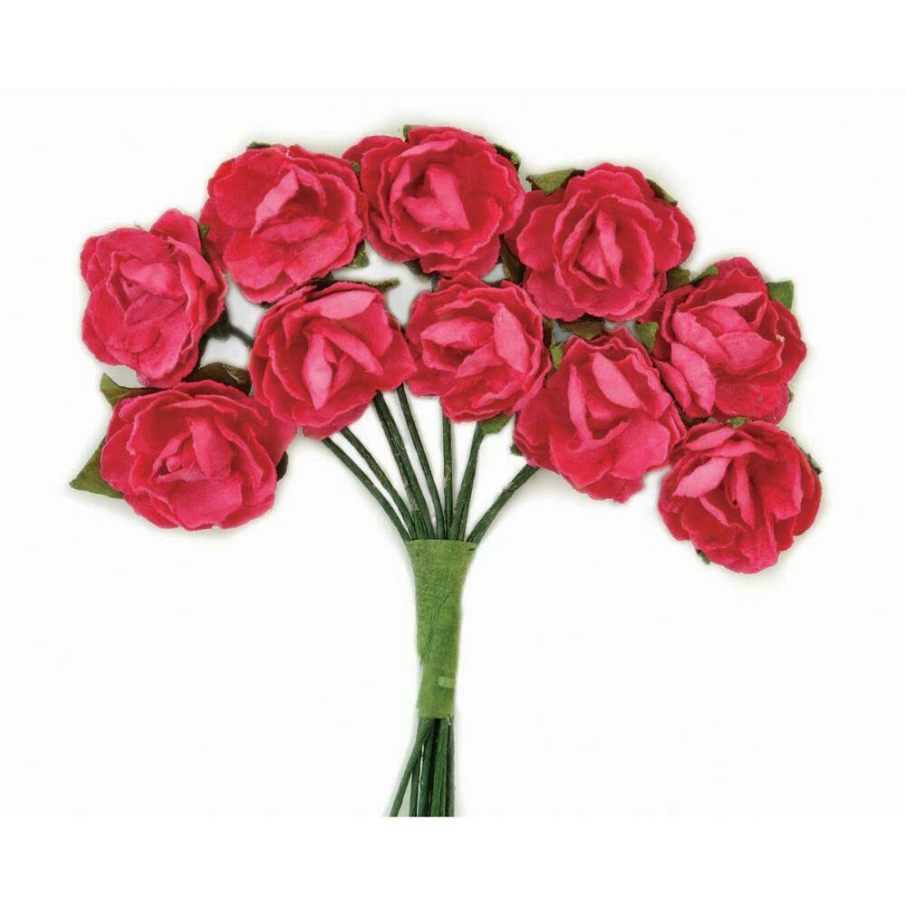 Kaisercraft Mini Paper Blooms Flowers W/Wire Stem 10/Pkg Hot Pink, .5in