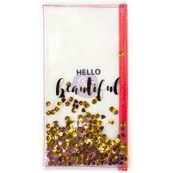 "Prima Marketing Traveler's Journal Clear Shaker Pouch 10""X6"" Hello Beautiful"