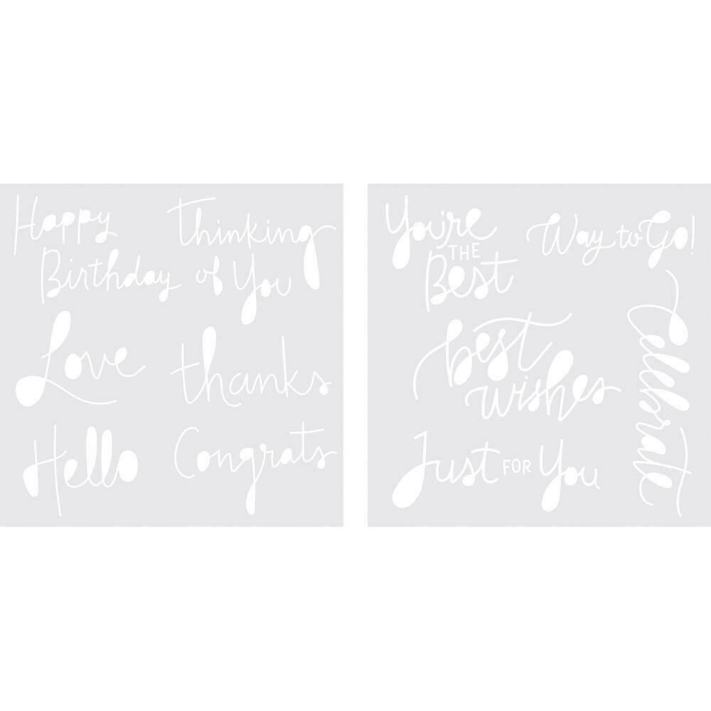 """We R Memory Keepers Foil Quill Freestyle Stencils 7""""X7"""" 2/Pk Sentiments"""