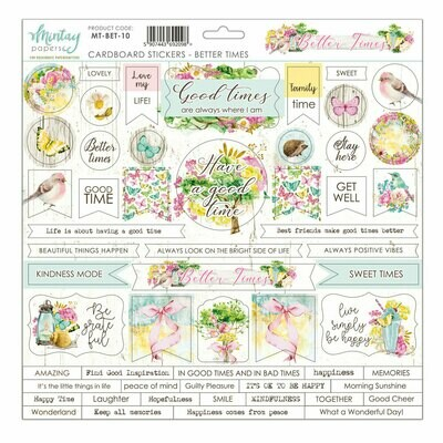 Better Times by Mintay Papers chipboard sticker sheet 12 x 12 shipping in June, 2020