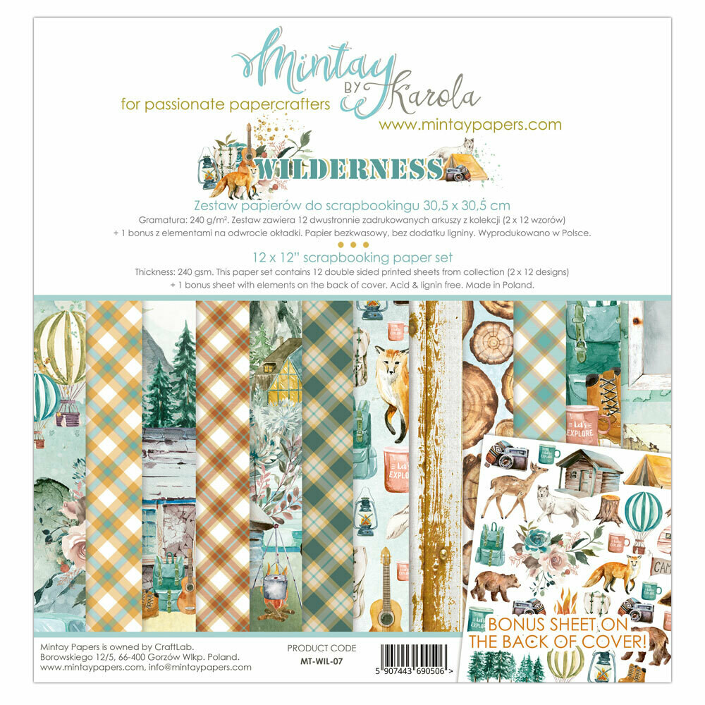 Mintay Papers WILDERNESS 12 x 12 scrapbook paper set