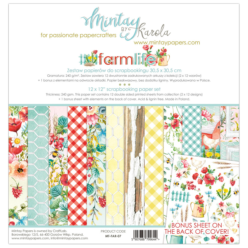 Farmlife by Mintay Papers 12 x 12 paper collection pack shipping in June, 2020