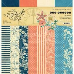 """Graphic 45 Double-Sided Paper Pad 12""""X12"""" 16/Pkg Sun Kissed, 8 Designs/2 Each patterns and solids"""