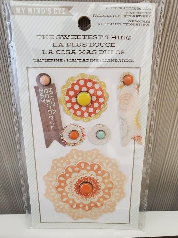 My Mind's Eye The Sweetest thing 6 Decorative Ephemera Brads