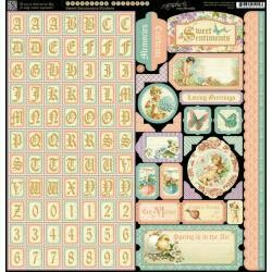 """Graphic 45 Sweet Sentiments Cardstock Stickers 12""""X12"""" Alpha, Borders, Tags, etc."""