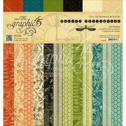 """Graphic 45 Double-Sided Paper Pad 12""""X12"""" 24/Pkg Nature Sketchbook Print/Solid 12 Designs"""