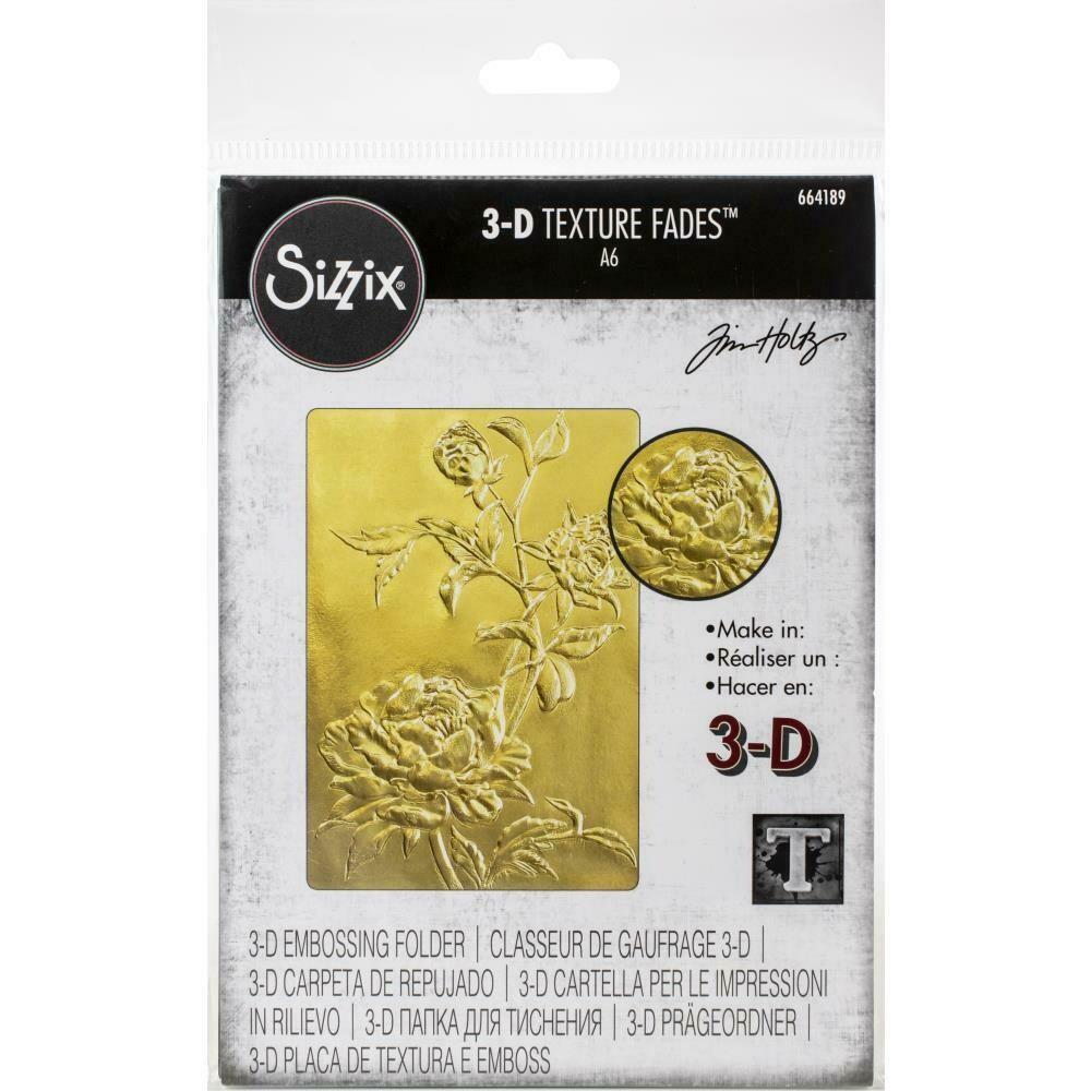 Sizzix Texture Fades Embossing Folder By Tim Holtz Roses