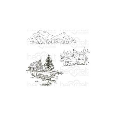 Heartfelt Creations Cling Rubber Stamp Set Create A 'scape Backcountry