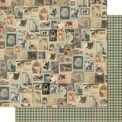 """Authentique Purebred Double-Sided Cardstock 12""""X12"""" #6 Vintage Postage Stamps"""