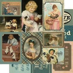 "Authentique Purebred Double-Sided Cardstock 12""X12"" #8 Dog Vintage Cut-Aparts"