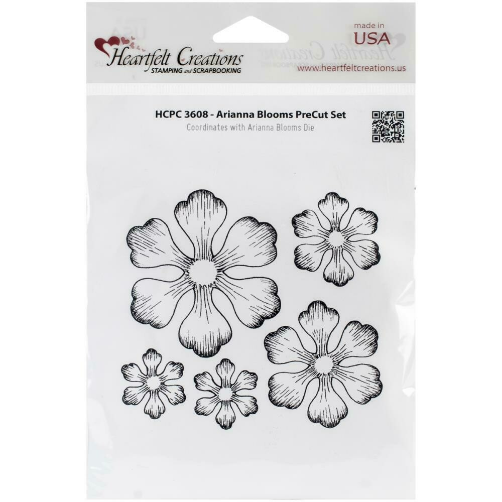 """Heartfelt Creations Cling Rubber Stamp Set 5""""X6.5"""" Arianna Blooms"""