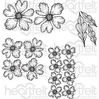 Heartfelt Creations Cling Rubber Stamp Set Small Sweet Peony