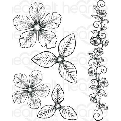 Heartfelt Creations Cling Rubber Stamp Set Large Classic Petunia