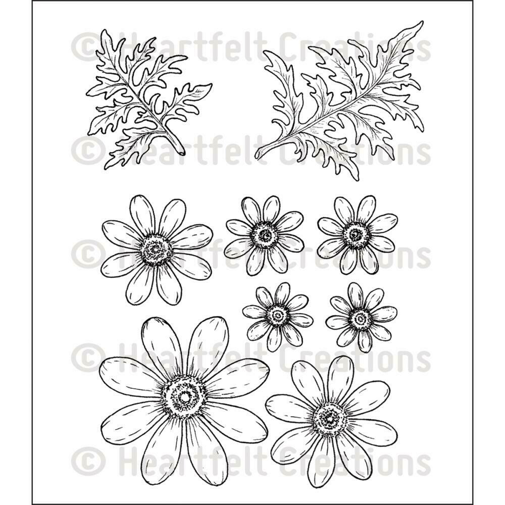 """Heartfelt Creations Cling Rubber Stamp Set 5""""X6.5"""" Delightful Daisies"""