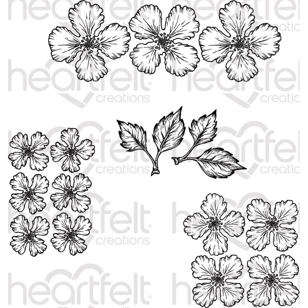 """Heartfelt Creations Cling Rubber Stamp Set Oakberry Lane Blossoms 1.5"""" To 5"""""""