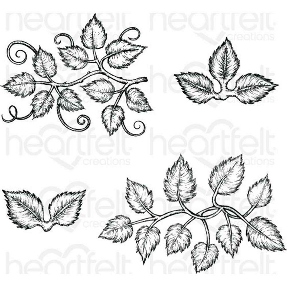 """Heartfelt Creations Cling Rubber Stamp Set 5""""X6.5"""" Leafy Accents 1"""" To 4.5"""""""