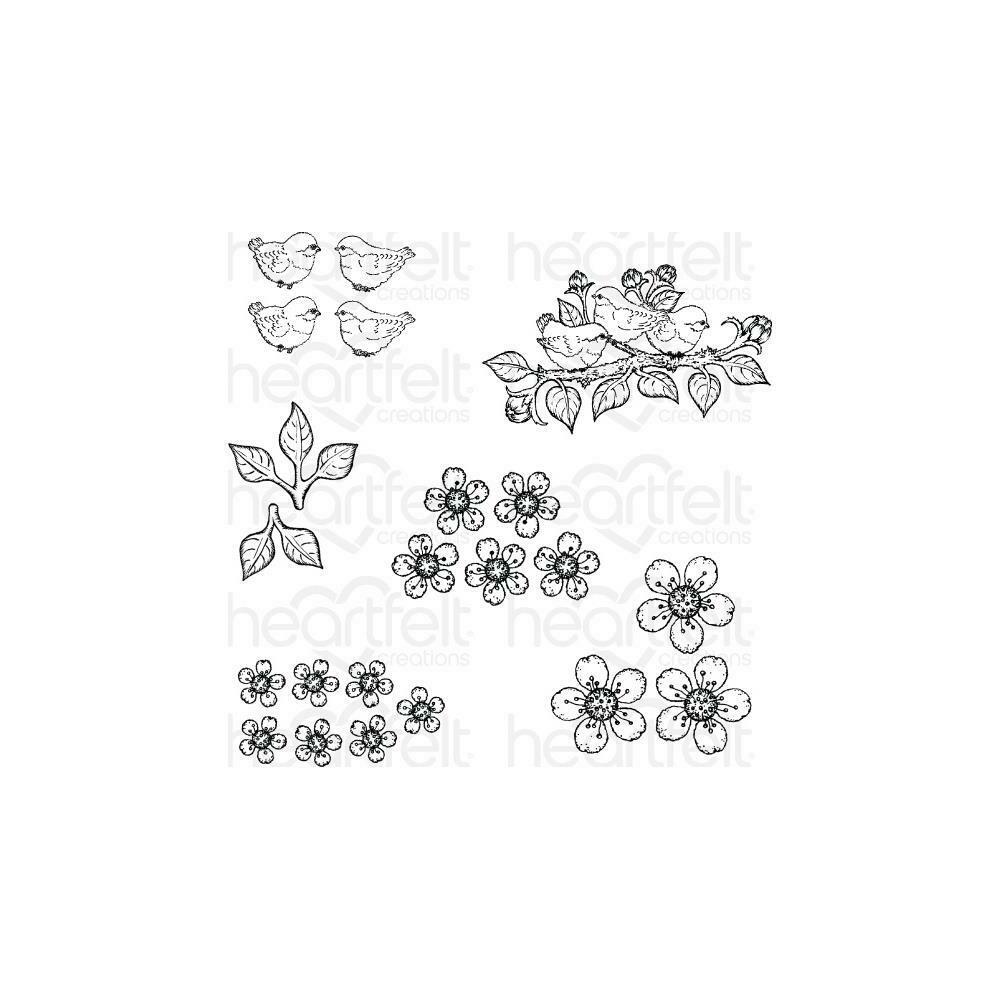 Heartfelt Creations Cling Rubber Stamp Set Tweet Cherry Blossoms