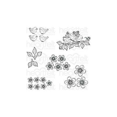 Heartfelt Creations Cling Rubber Stamp Set Tweet Cherry Blossoms