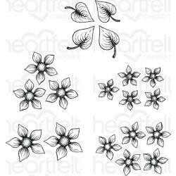"Heartfelt Creations Cling Rubber Stamp Set Purr-Fect Posies 1.5"" To 2.75"""