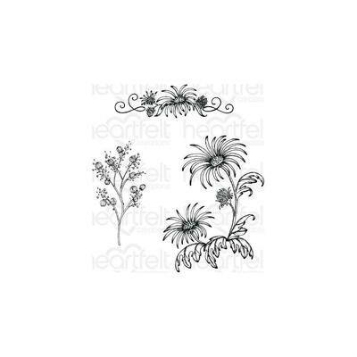 Heartfelt Creations Cling Rubber Stamp Set Wild Aster Spray