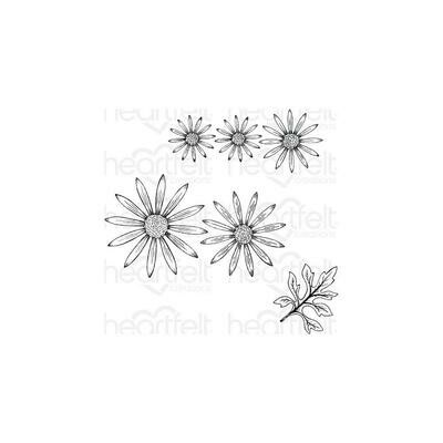 Heartfelt Creations Cling Rubber Stamp Set Wild Aster