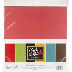 "Echo Park Double-Sided Solid Cardstock 12""X12"" 6/Pkg Back To School, 6 Colors"