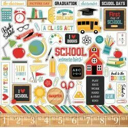 """Back To School Cardstock Stickers 12""""X12"""" Elements"""