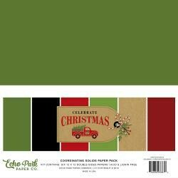 """Echo Park Double-Sided Solid Cardstock 12""""X12"""" 6/Pkg Celebrate Christmas, 6 Colors"""