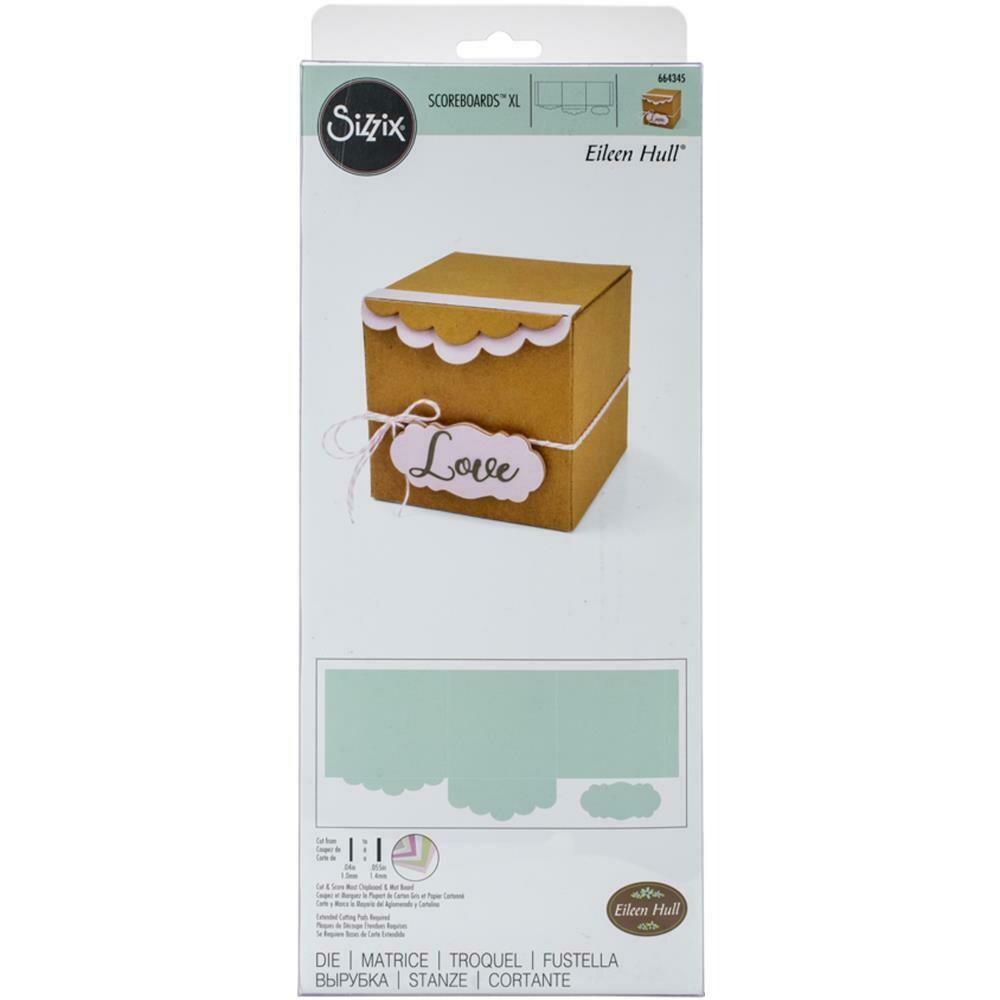 Sizzix ScoreBoards XL Die by Eileen Hull Box, Gift W/Scallop Edges & Label