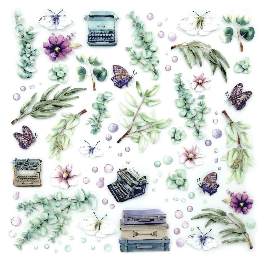 """49 And Market Layered Embellishments 12""""X12"""" Eucalyptus"""