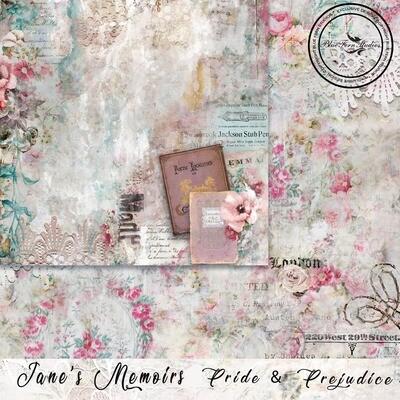 Bluefern Crafts 12 x 12 paper -  Jane's Memoirs - Pride & Prejudice