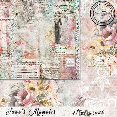 Bluefern Crafts 12 x 12 paper - Jane's Memoirs - Stylograph