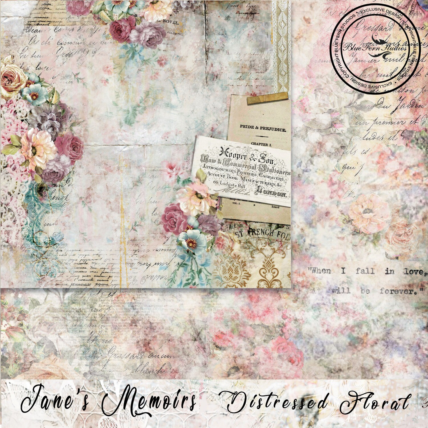 Bluefern Crafts 12 x 12 paper - 	 Jane's Memoirs - Distressed Floral