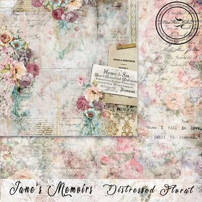 Bluefern Crafts 12 x 12 paper -  Jane's Memoirs - Distressed Floral