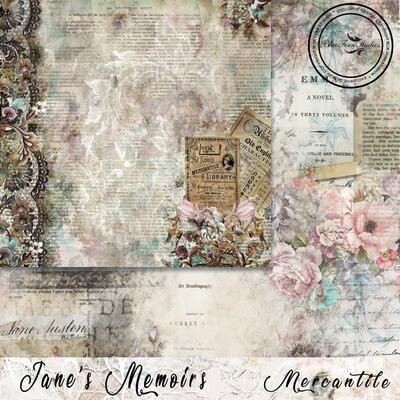 Bluefern Crafts 12 x 12 paper -  Jane's Memoirs - Mercantile
