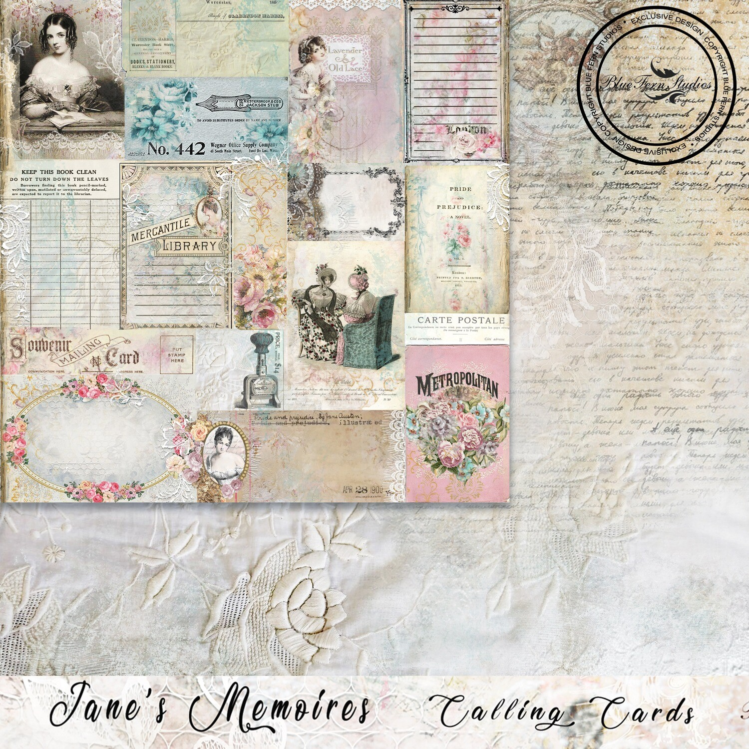 Blue fern Crafts 12 x 12 paper - 	 	 Jane's Memoirs - Calling Cards