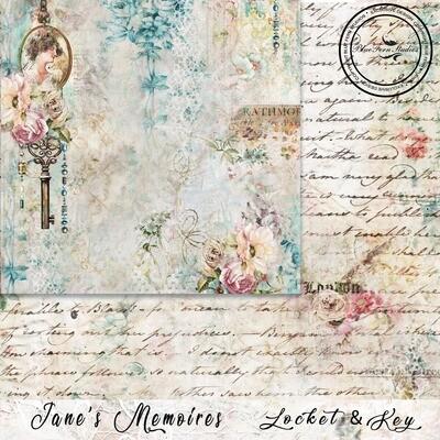 Bluefern Crafts 12 x 12 paper -   Jane's Memoirs - Locket & Key