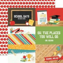 "Back To School Double-Sided Cardstock 12""X12"" 4""X6"" Journaling Cards"