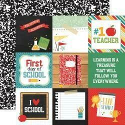 "Back To School Double-Sided Cardstock 12""X12"" 4""X4"" Journaling Cards"