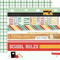 """Back To School Double-Sided Cardstock 12""""X12"""" Border Stripes"""