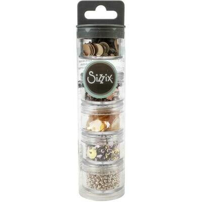 Sizzix Making Essential Sequins & Beads 5/Pkg Rose Gold, 5g Per Pot