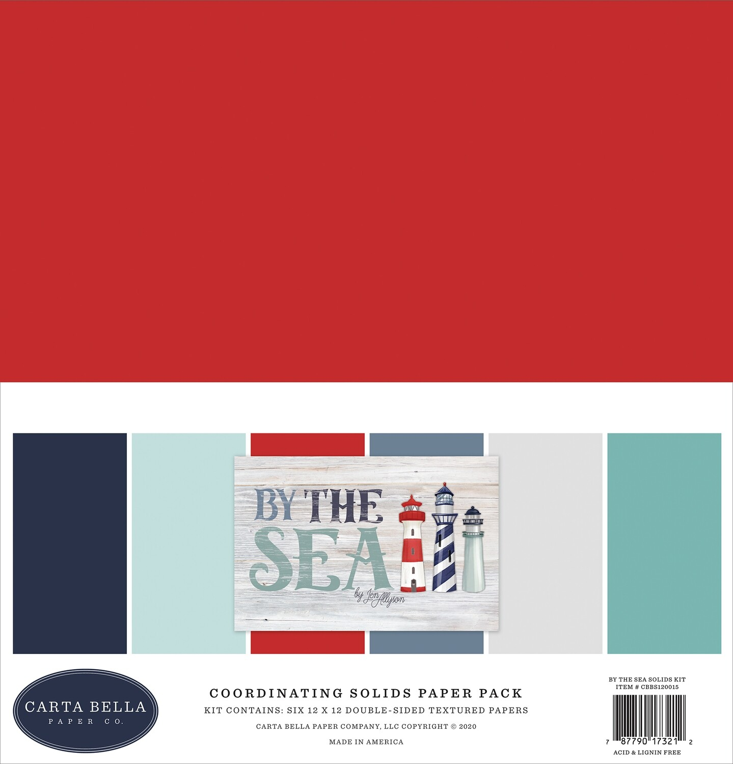 """Carta Bella Double-Sided Solid Cardstock 12""""X12"""" 6/Pkg By The Sea, 6 Colors"""