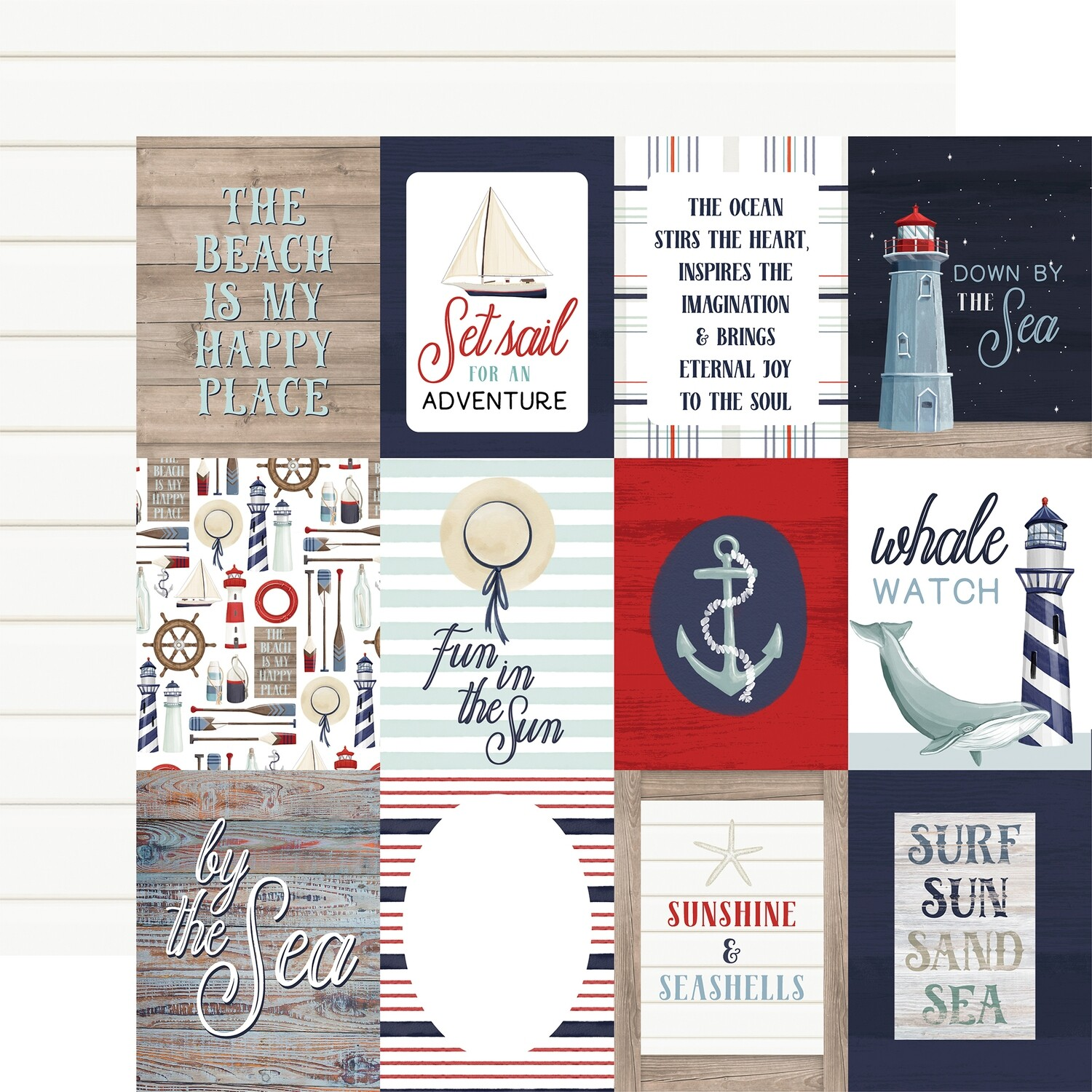 """By The Sea Double-Sided Cardstock 12""""X12""""  3"""" x 4"""" Journaling Cards"""