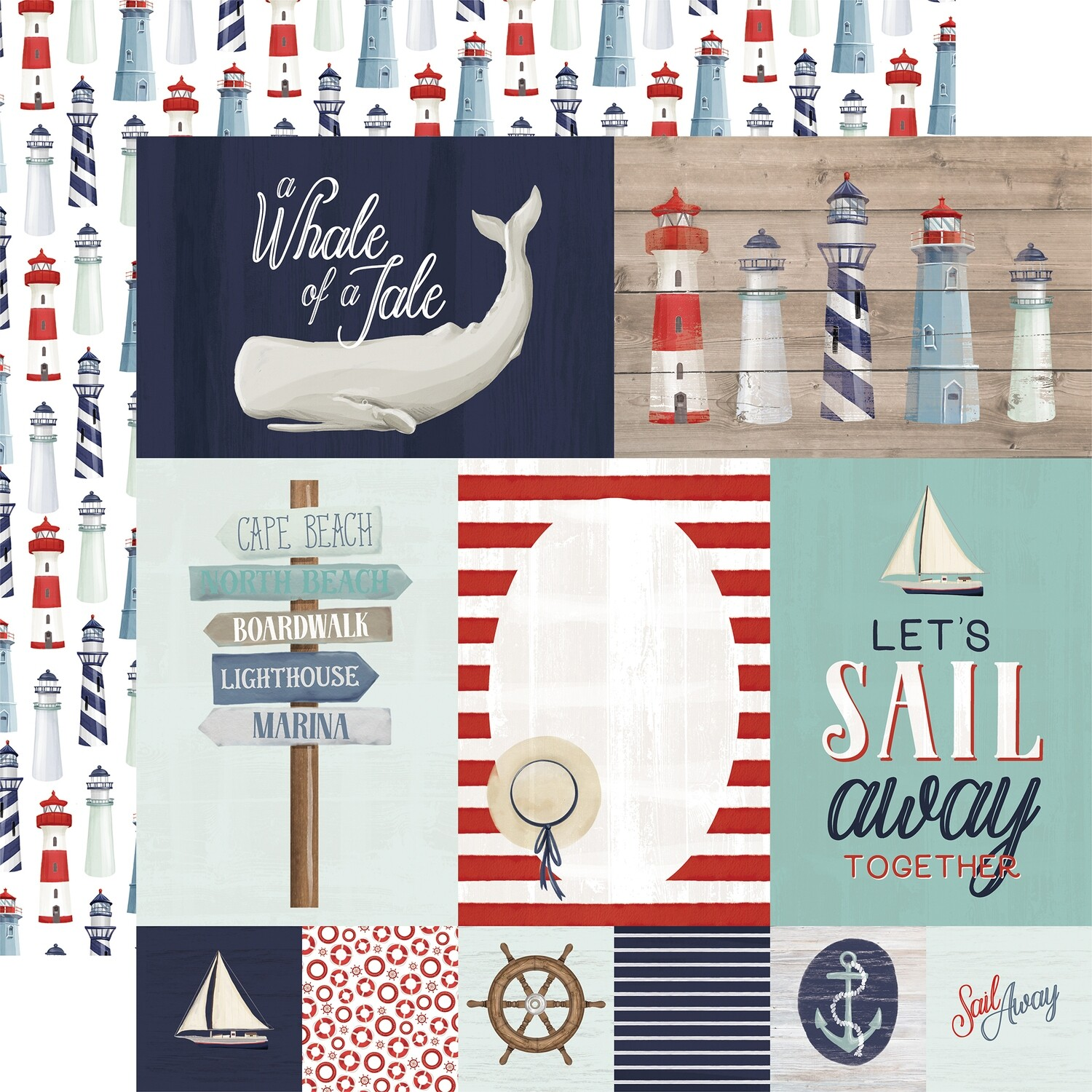 """By The Sea Double-Sided Cardstock 12""""X12"""" Journaling Cards"""