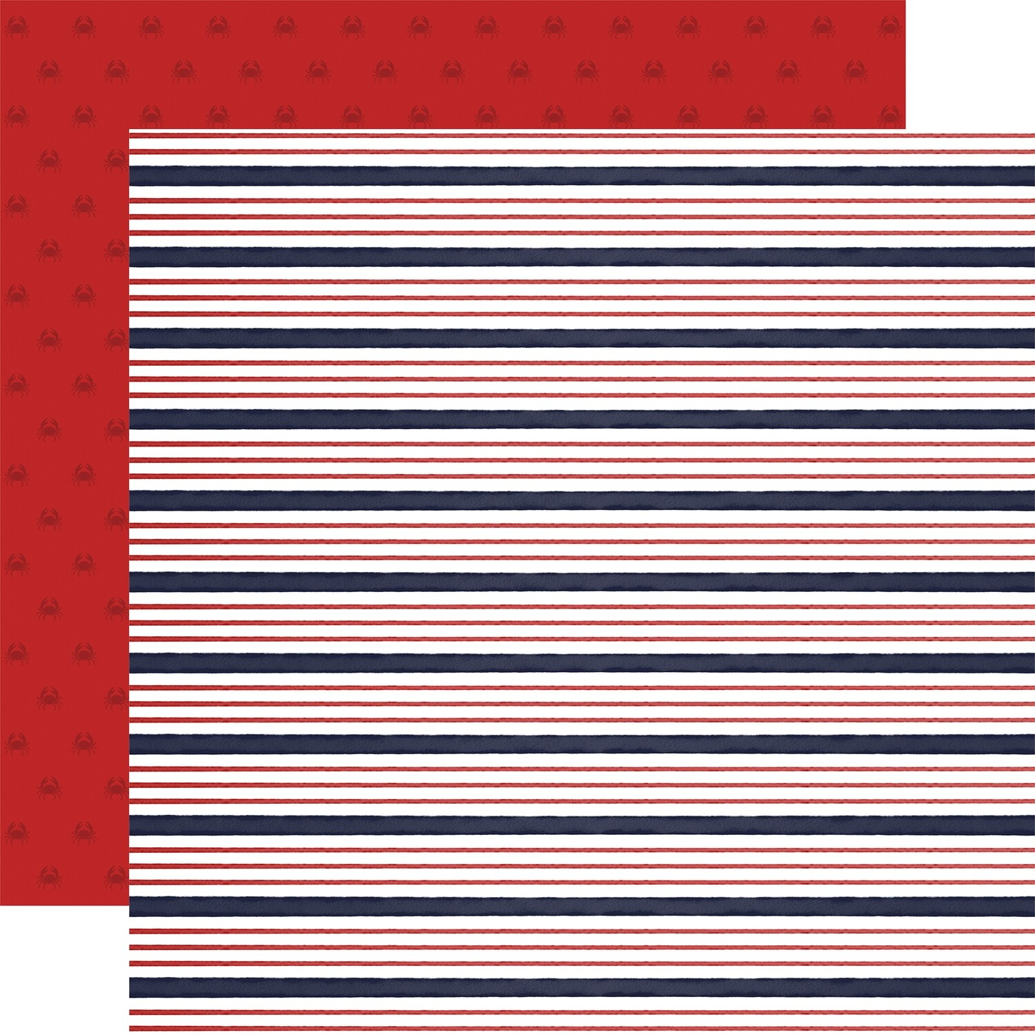 "Carta Bella By The Sea Double-Sided Cardstock 12""X12""  Sailor Stripe"