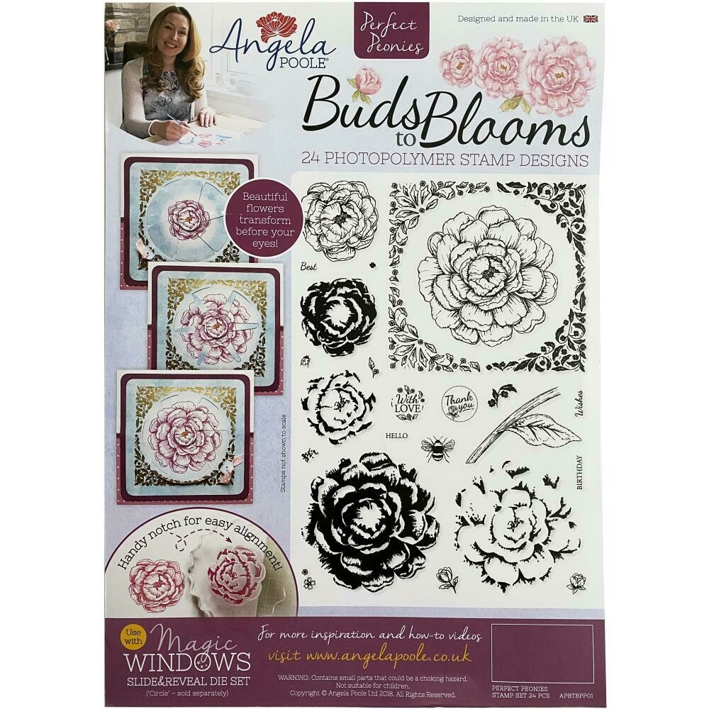 Angela Poole A4 Photopolymer Stamp Set Buds To Blooms - Perfect Peonies