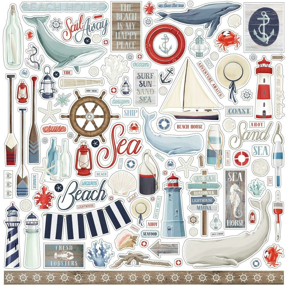 """By The Sea Carta Bella Cardstock Stickers 12""""X12"""" Elements"""