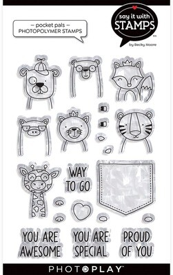 Photo Play Paper Clear Stamp, Say It With Stamps - Pocket Pals