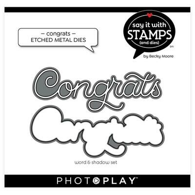 PhotoPlay Say It With Stamps Die Set Congrats