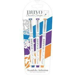 Nuvo Brush Script Pens 3/Pkg Mandala Infusion